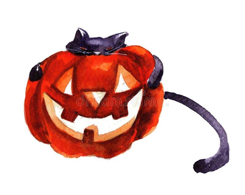 Abóbora do abraço do gato de Dia das Bruxas ilustração do vetor