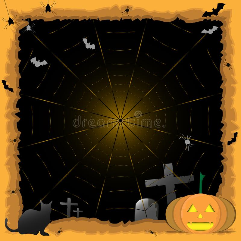 Abóbora do fundo de Dia das Bruxas, gato preto Partido de Halloween Etiqueta da aranha Truque ou deleite ilustração stock