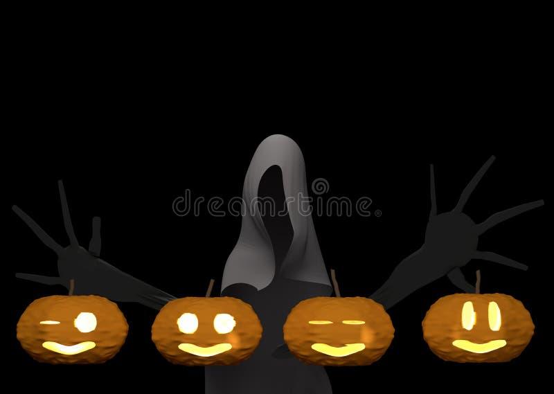 Abóbora e fantasma de Dia das Bruxas no fundo preto, rendição 3d ilustração royalty free