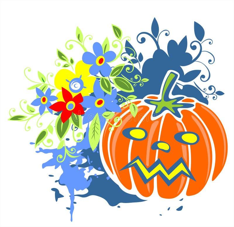 Abóbora e flores ilustração royalty free