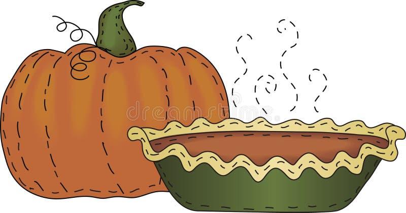 Abóbora e torta de abóbora ilustração do vetor