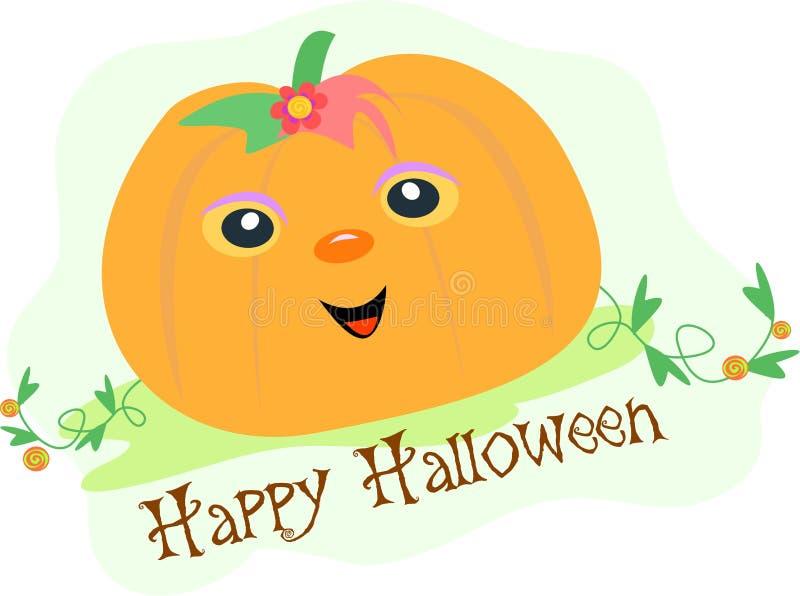 Abóbora feliz de Halloween em um campo ilustração royalty free