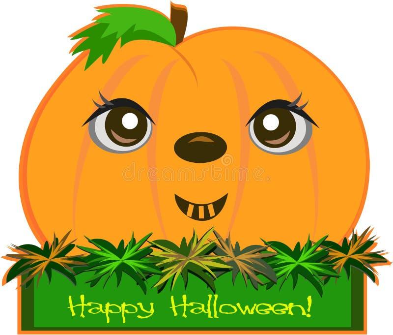 Abóbora feliz de Halloween em uma caixa ilustração do vetor