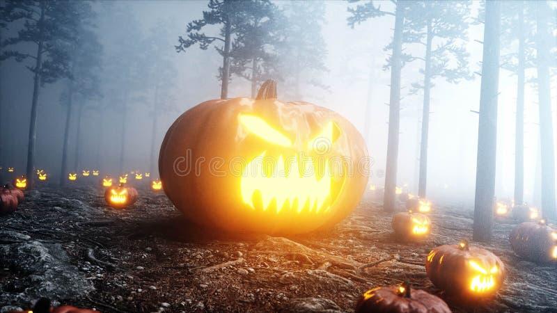 Abóbora gigant assustador no medo e no horror da floresta da noite da névoa Mistic e conceito do Dia das Bruxas rendição 3d ilustração stock