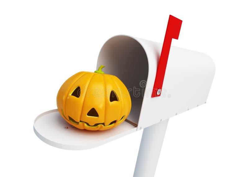 Abóbora o Dia das Bruxas na caixa postal ilustração do vetor