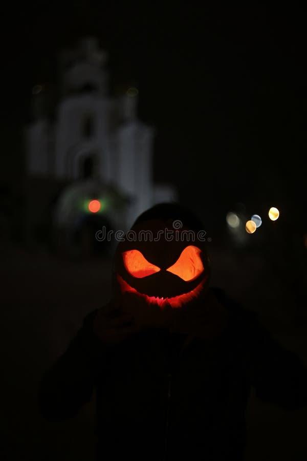 Abóbora para o mal da Jack-O-lanterna da noite de Dia das Bruxas assustador imagens de stock