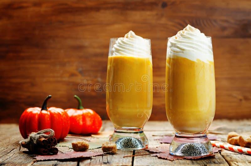 A abóbora tempera o milk shake da abóbora da torta com chantiliy foto de stock royalty free