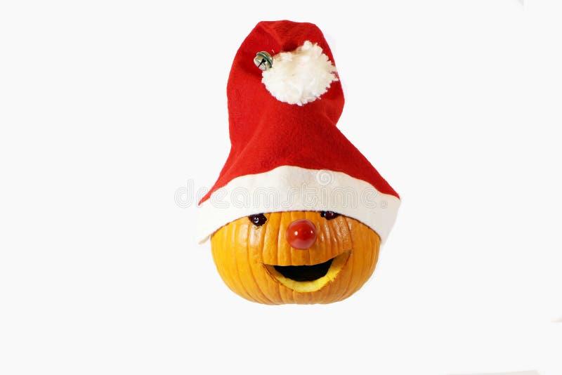 Abóbora vestida em Papai Noel foto de stock
