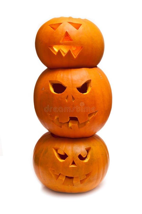 Abóboras cinzeladas de Halloween fotos de stock royalty free