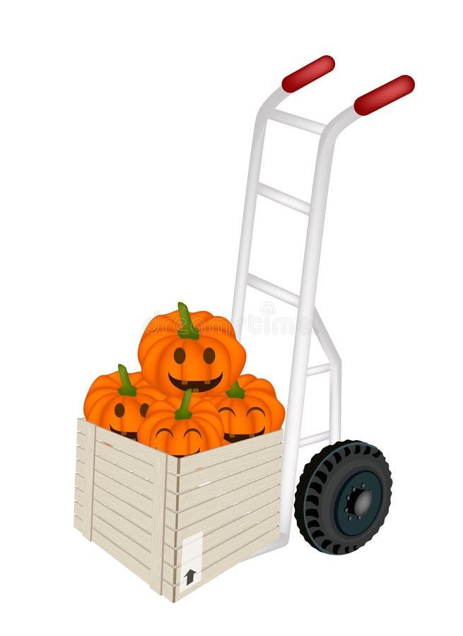 Abóboras da Jack-o-lanterna da carga do caminhão de mão na caixa de transporte ilustração royalty free