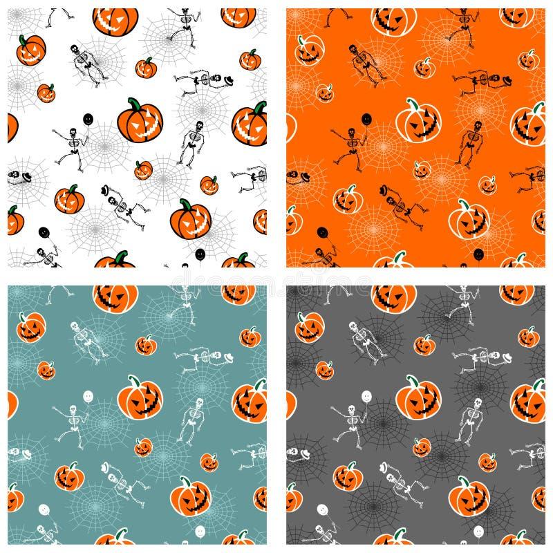 Abóboras de Halloween e fundos de esqueleto ilustração royalty free