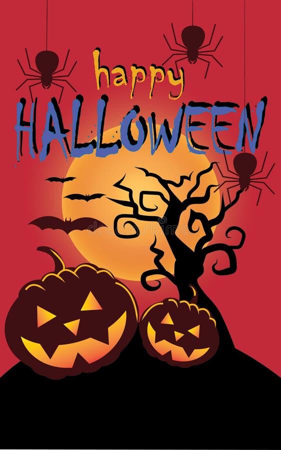 Abóboras de Halloween Medo dianteiro inoperante da árvore e da aranha ilustração do vetor