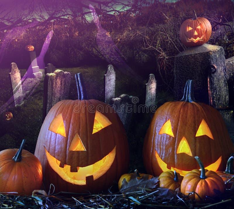 Abóboras de Halloween na jarda grave foto de stock royalty free