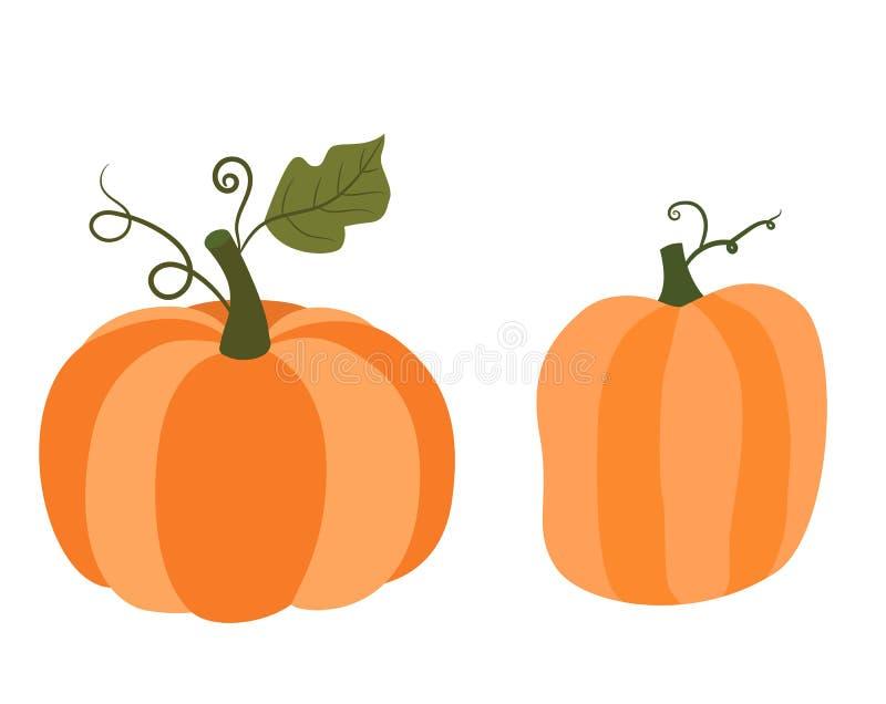 Abóboras de outono alaranjadas com hastes verdes, gráficos de vetor para a ação de graças ilustração stock