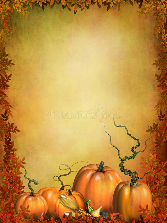 Abóboras de outono com folhas