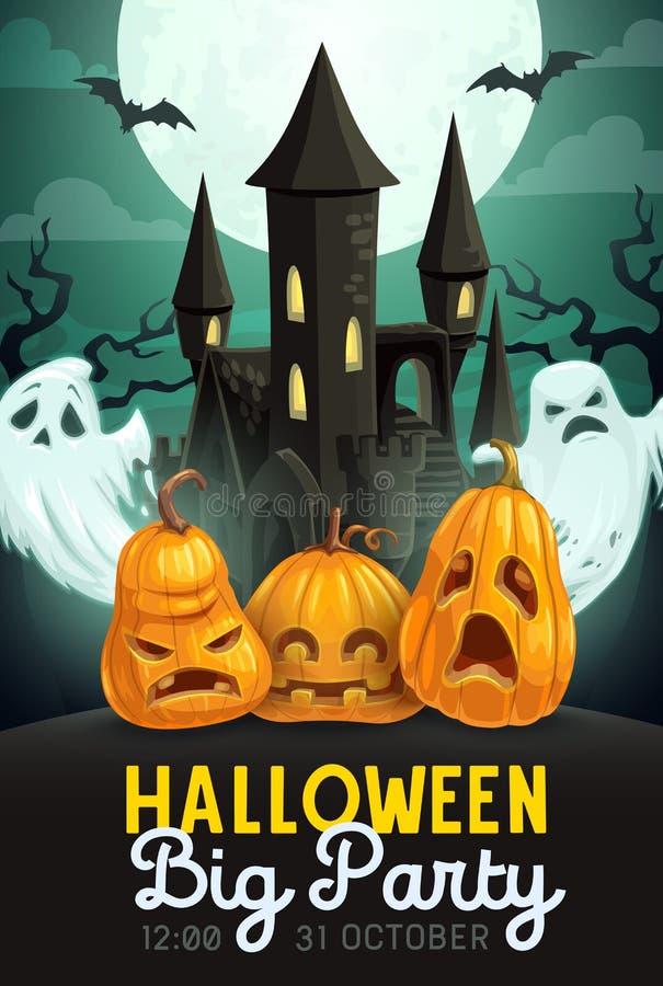 Abóboras e fantasmas de Dia das Bruxas com casa assombrada ilustração royalty free