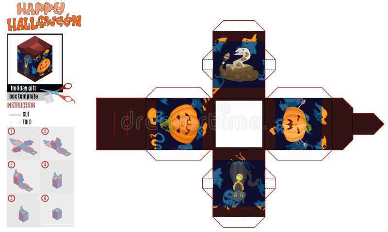 Abóboras e gato do molde da cópia da caixa com uma corrente ilustração stock