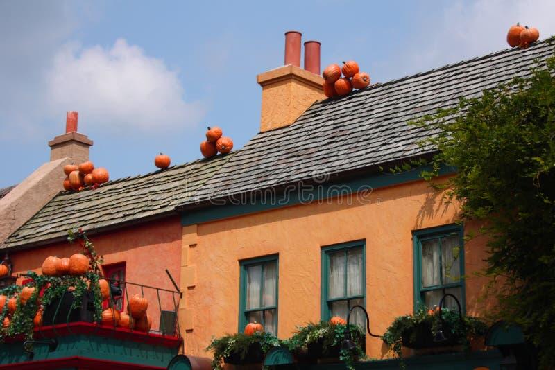 Abóboras em telhados fotos de stock royalty free