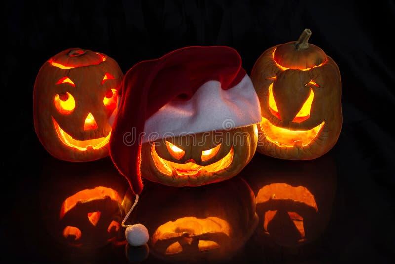 Abóboras engraçadas de Halloween fotografia de stock