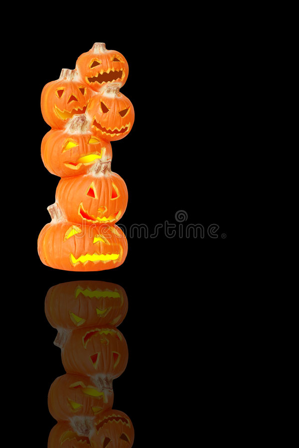 Abóboras iluminadas de Halloween foto de stock