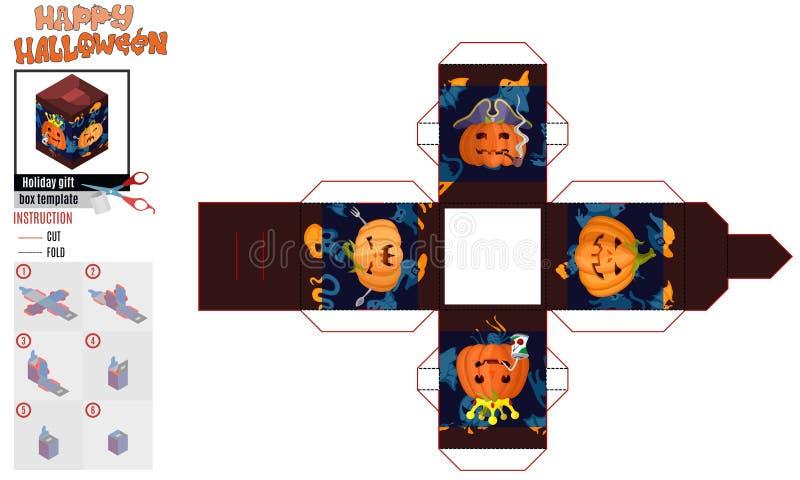 Abóboras irritadas do molde da cópia da caixa quadrada de Dia das Bruxas ilustração royalty free