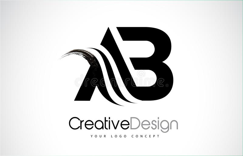 AB A B Creative Brush Black Letters Design With Swoosh stock illustration