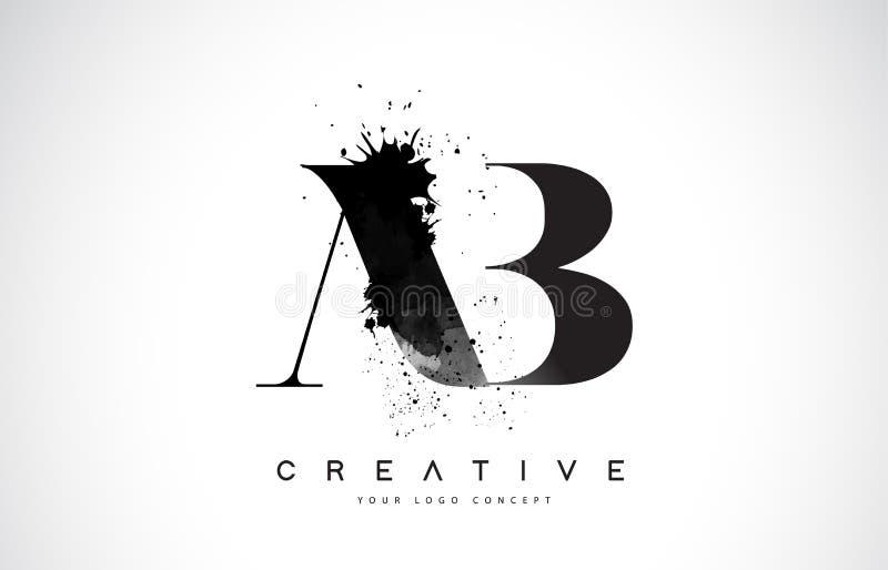 AB A B Letter Logo Design with Black Ink Watercolor Splash Spill royalty free illustration
