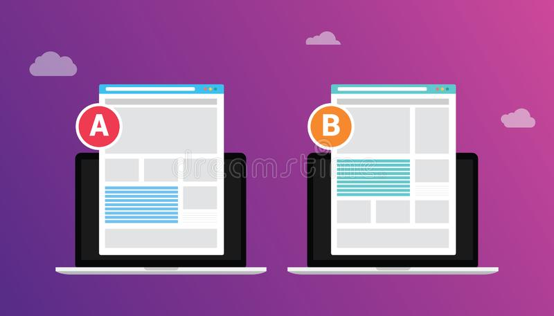 Ab a b split testing concept with two business men compare test result between 2 page of website design comparison - vector vector illustration