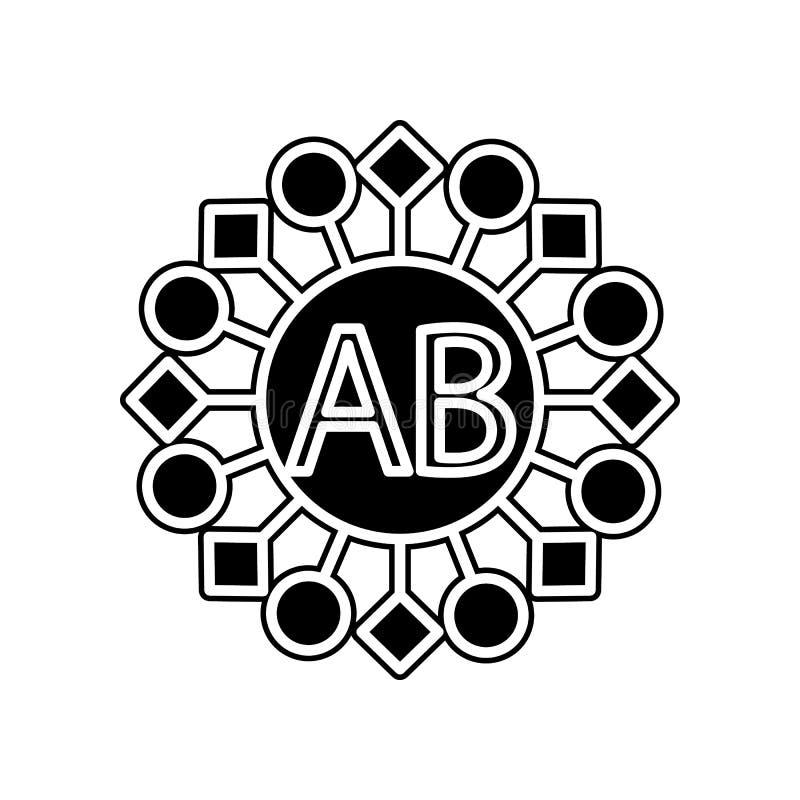 AB-Blutikone Element der Blutspende für bewegliches Konzept und Netz Appsikone Glyph, flache Ikone für Websiteentwurf und Entwick lizenzfreie abbildung