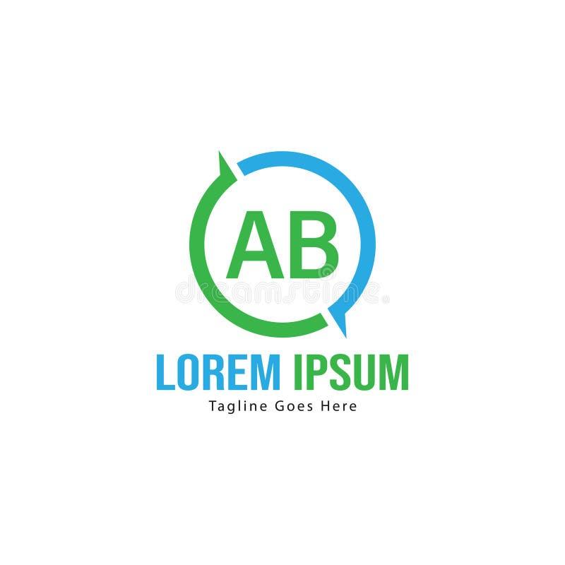 Ab-bokstav Logo Design Id?rik modern AB m?rker symbolsillustrationen royaltyfri bild