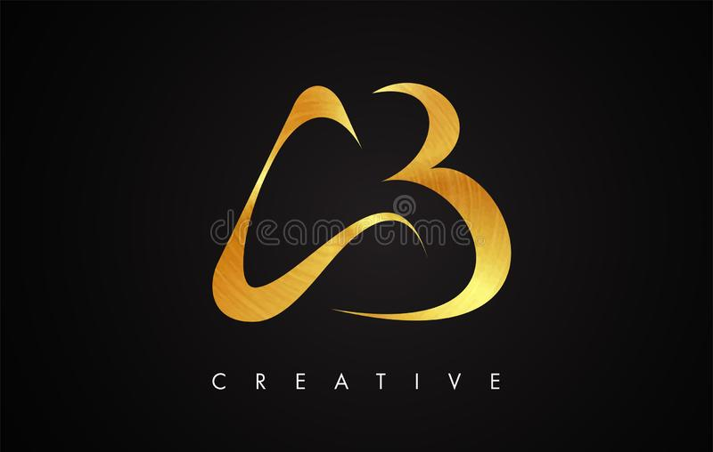 AB Gold Golden Letter Modern Trendy Design Logo. Letter AB Icon Logo with Modern swoosh. AB Gold Golden Letter Modern Stroke Trendy Design Logo. Letter AB Icon royalty free illustration