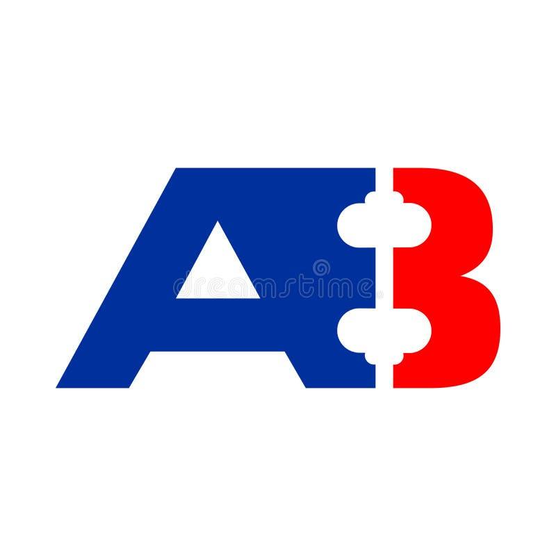 AB A8 inicjałów Barbel kształta symbolu projekt ilustracji