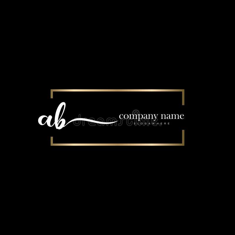 AB initial handwriting logo template vector. stock photo