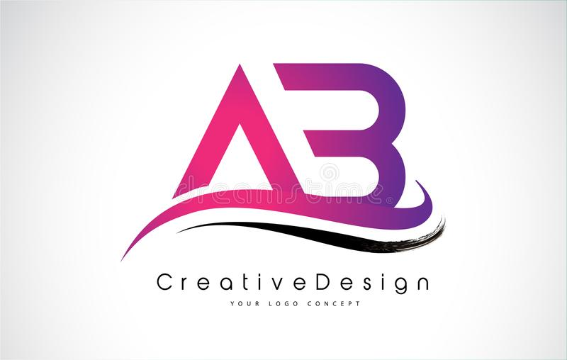 AB Letter Logo Design. Creative Icon Modern Letters Vector Logo. AB Letter Logo Design in Black Colors. Creative Modern Letters Vector Icon Logo Illustration stock illustration