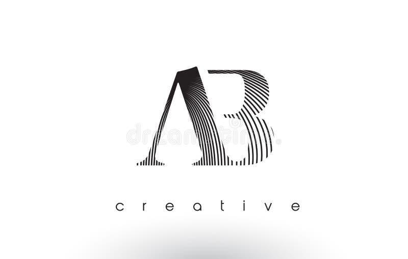AB Logo Design With Multiple Lines e cores preto e branco ilustração royalty free