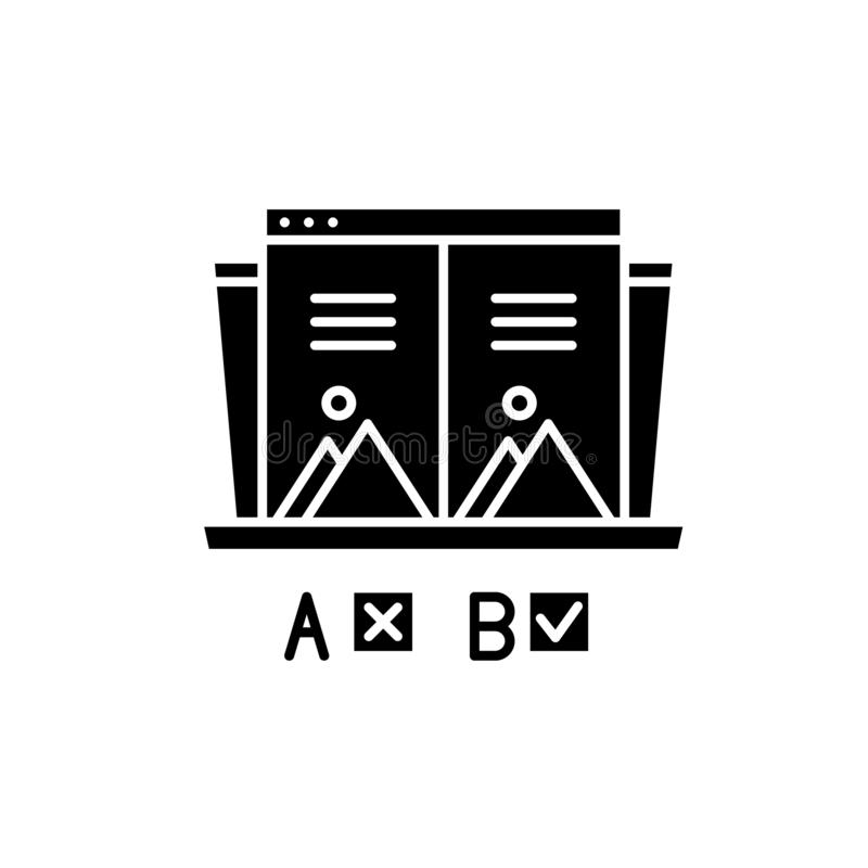 Ab test black icon, vector sign on isolated background. Ab test concept symbol, illustration. Ab test black icon, concept vector sign on isolated background. Ab vector illustration