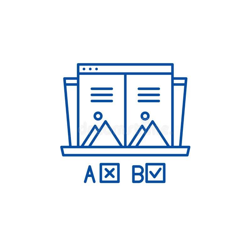Ab test line icon concept. Ab test flat  vector symbol, sign, outline illustration. Ab test line concept icon. Ab test flat  vector website sign, outline symbol vector illustration