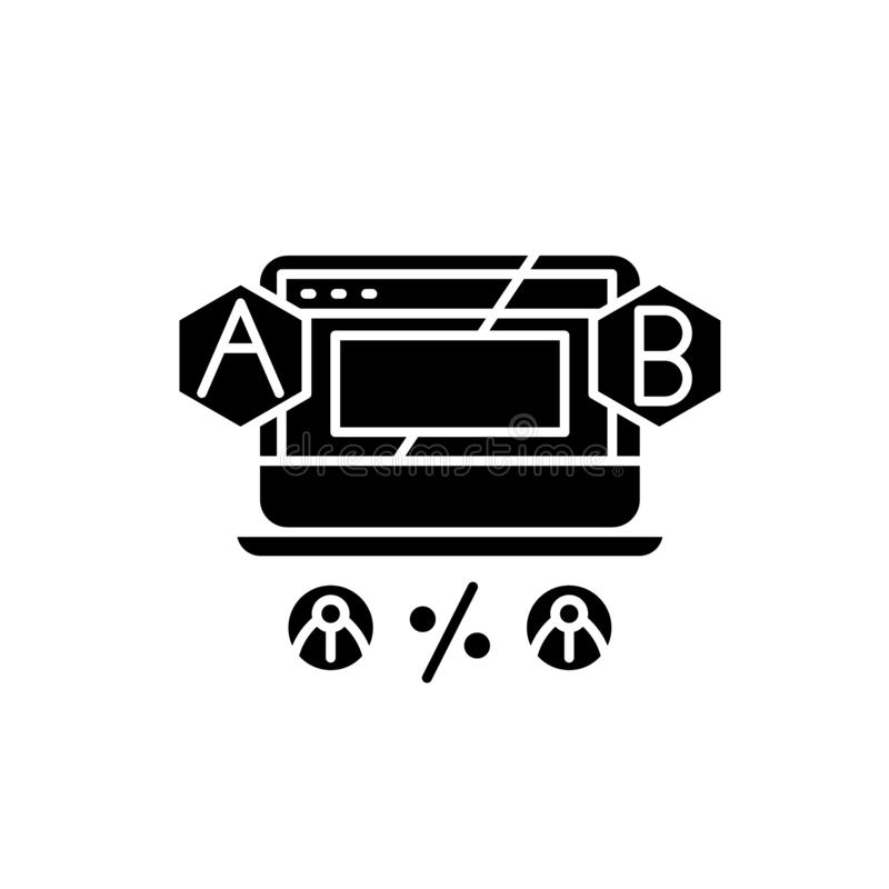 Ab testing black icon, vector sign on isolated background. Ab testing concept symbol, illustration. Ab testing black icon, concept vector sign on isolated royalty free illustration
