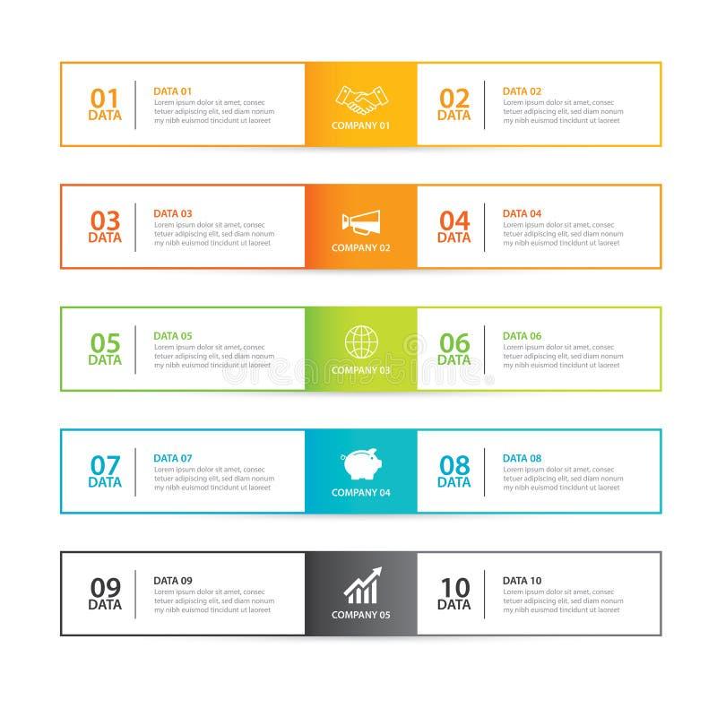 Aba de Infographics na linha índice fina horizontal com o temp de 10 dados ilustração royalty free
