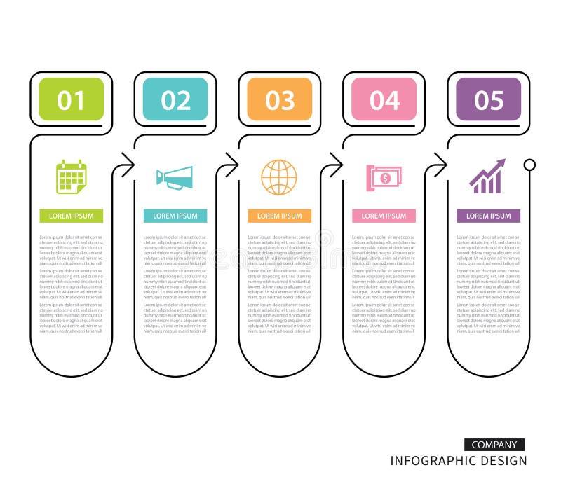Aba de Infographics na linha índice fina vertical com templat de 5 dados ilustração royalty free