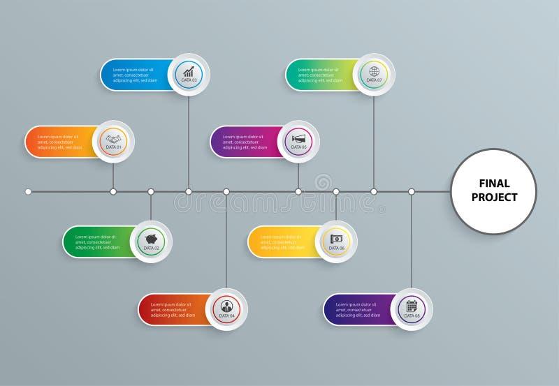 Aba de Infographics no índice de papel horizontal com molde de 8 dados Fundo do sumário da ilustração do vetor pode ser usado par ilustração do vetor