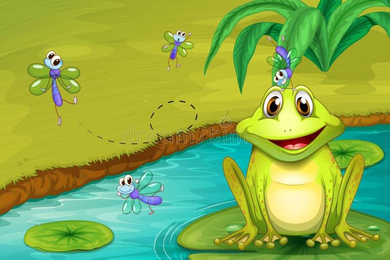 Żaba i komarnicy ilustracja wektor