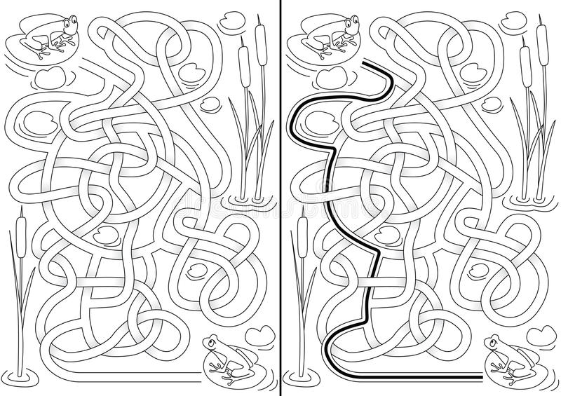 Żaba labirynt royalty ilustracja