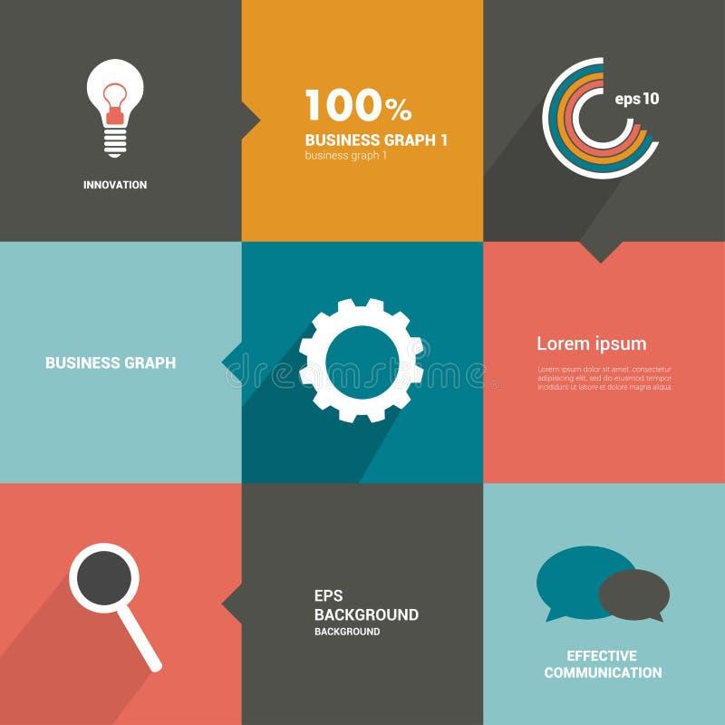Aba lisa de Minimalistic, diagrama, esquema para o infographics ilustração stock