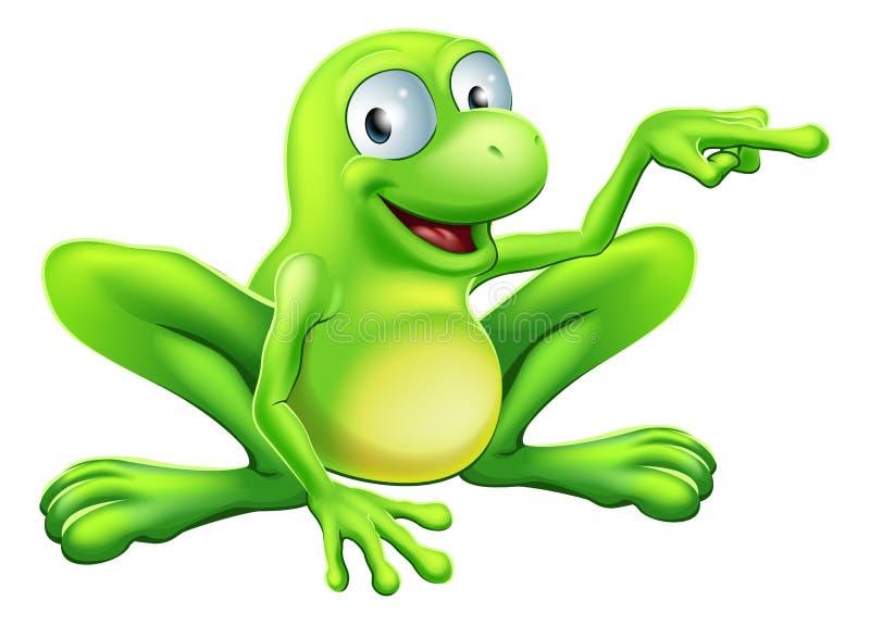 Żaba wskazuje ilustrację ilustracja wektor
