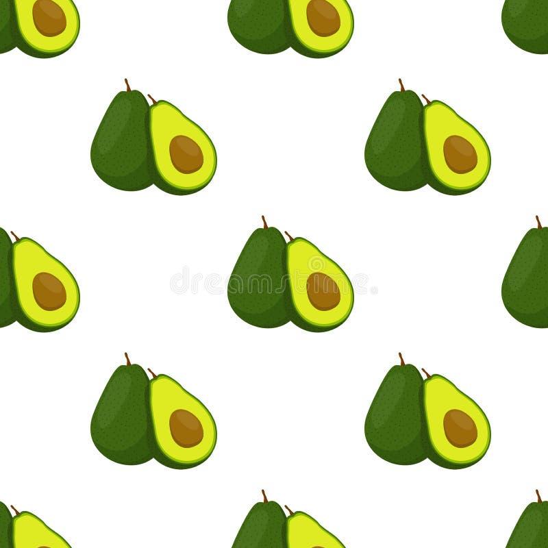 Abacate inteiro e teste padrão sem emenda da fatia Fruta tropical Ilustração do vetor ilustração royalty free