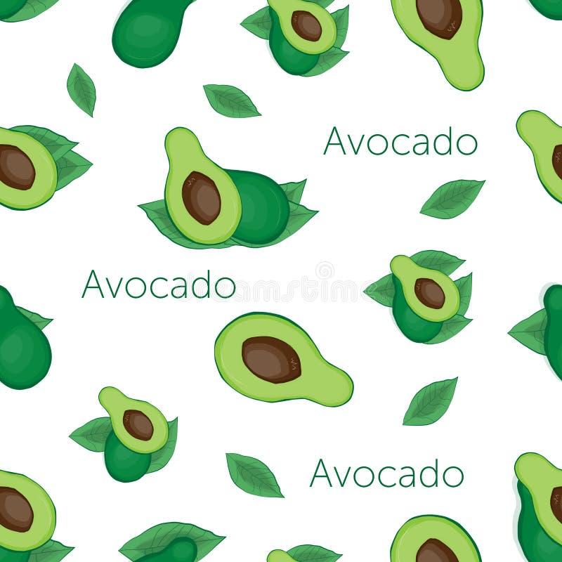 abacate verde e abacate com osso e folha no fundo bege com palavras ilustração stock