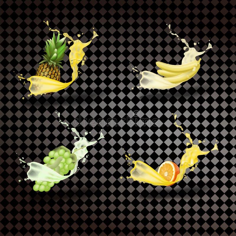 Abacaxi, banana, uvas, suco de laranja O fruto fresco e esguincha, vetor do ícone 3D ilustração stock