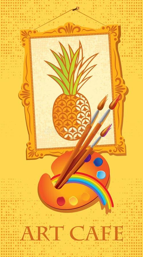 Abacaxi com escovas e paleta ilustração stock
