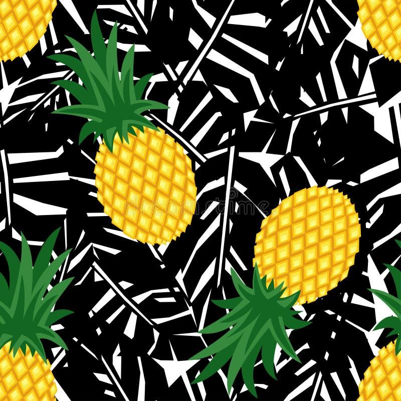 Abacaxi com teste padrão sem emenda das folhas tropicais pretas ilustração royalty free